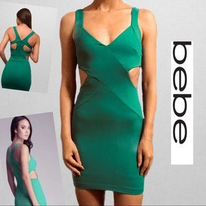 Bebe Green Cutout Bodycon Dress